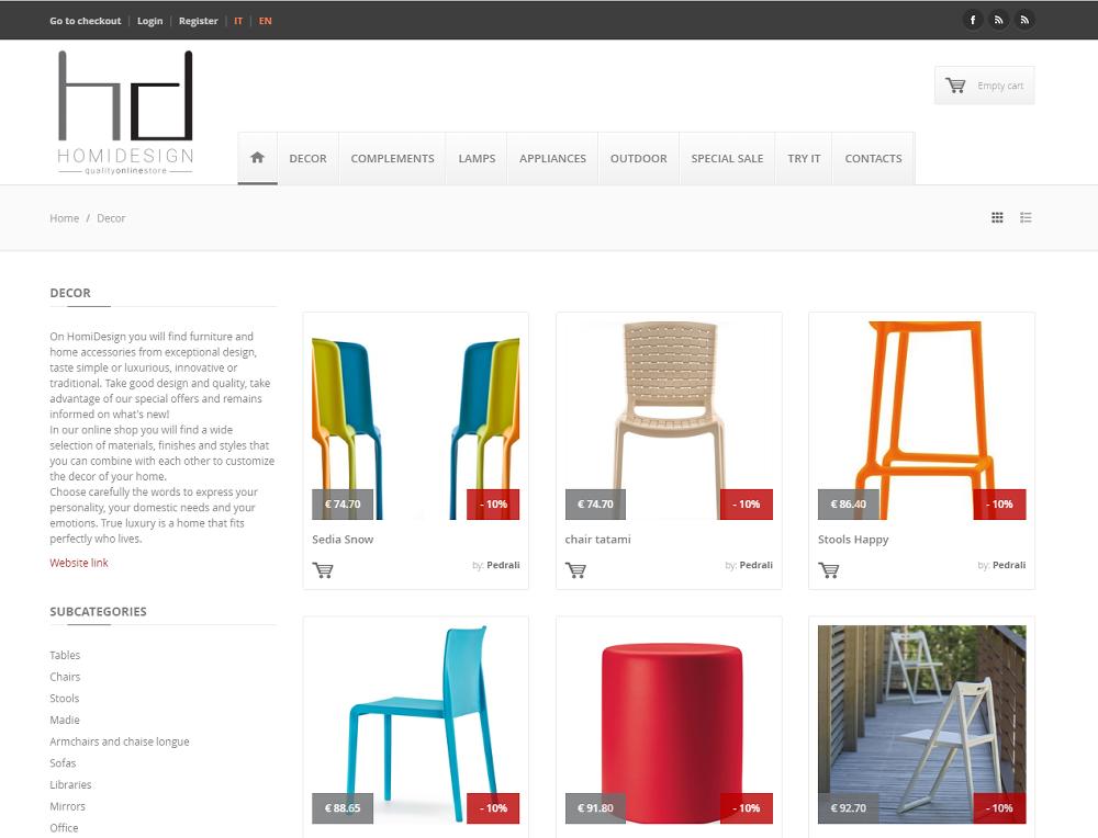 Sito ecommerce per arredamento e design for Sito arredamento design
